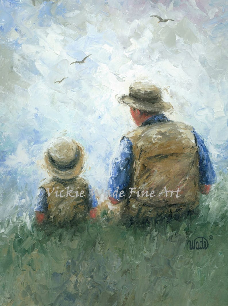 Father and son art father print dad painting father gift etsy
