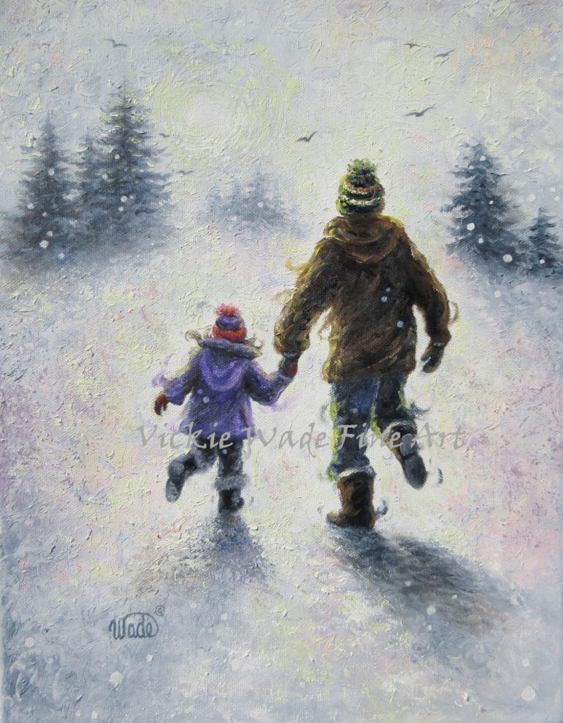 Father Daughter Art Print dad and daughter wall art winter image 0