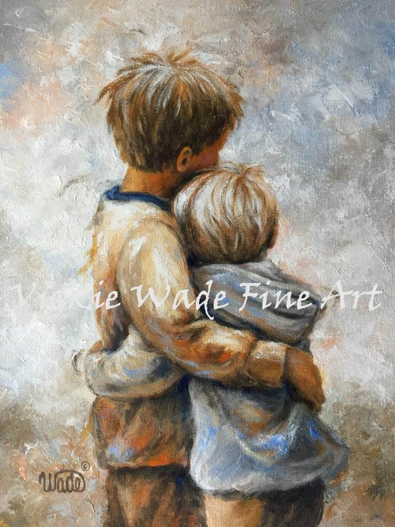 Two Brothers Hugging Art Print two sons two little boys | Etsy