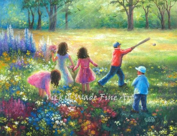 Five Garden Children Original Painting 16x20 Five Kids In Etsy