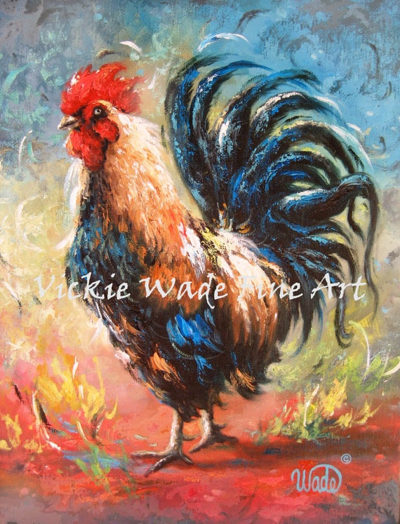 Gift for Chicken Lover Cheers Rooster Painting Miniature Painting ACEO Print Print Celebrating Drinking Rooster Artist Trading Card
