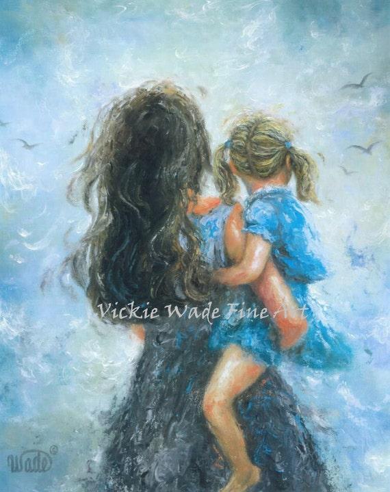 Moeder Daughter Art Print Moeder Schilderijen Mam Blond Etsy