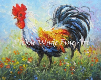 Rooster ORIGINAL Painting, 12X12, rooster painting, rooster art, rooster images, kitchen art, kitchen paintings, canvas, Vickie Wade Art