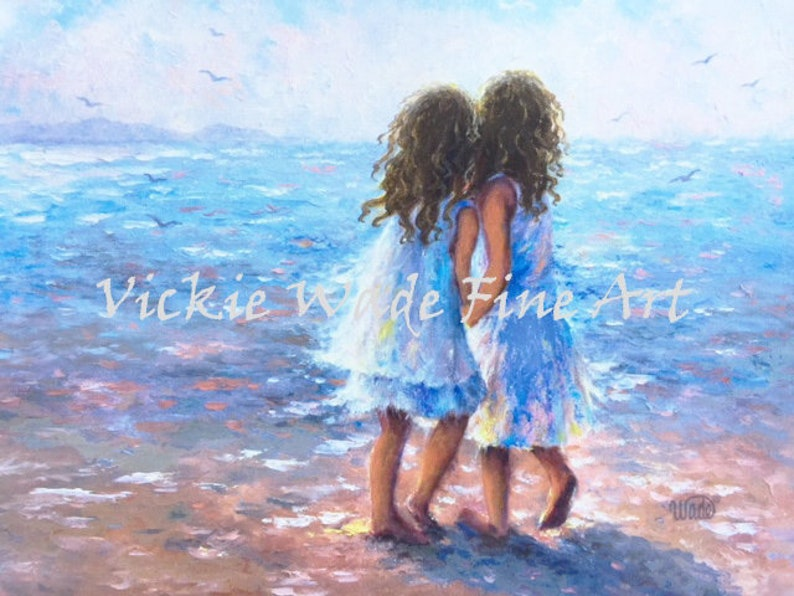 Two Sisters Beach Art Print beach girls two beach girls two image 0