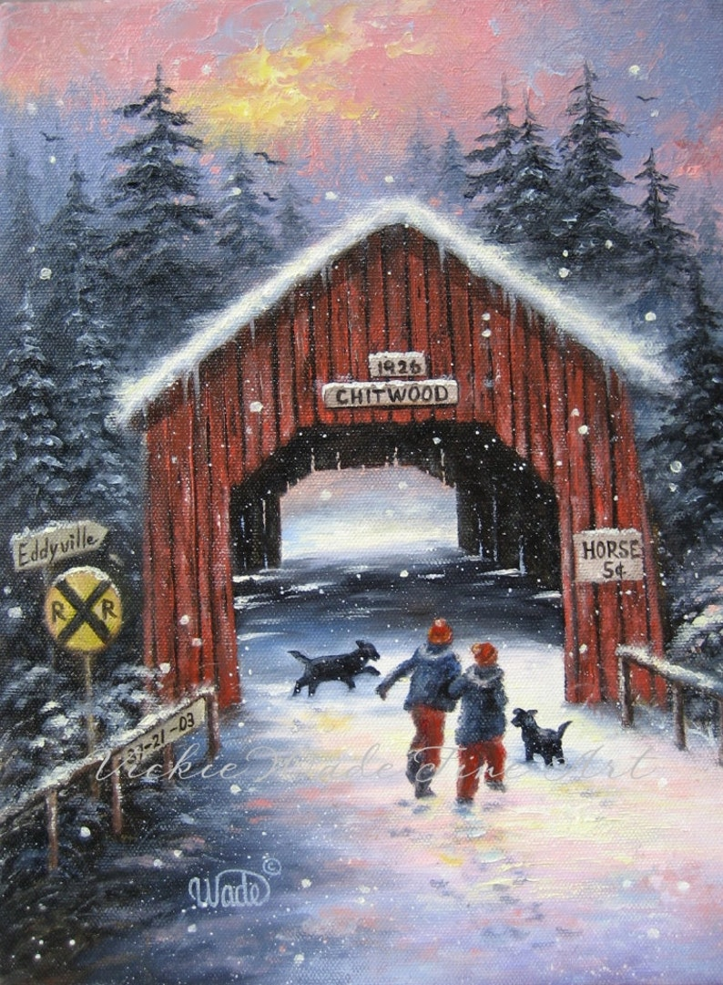 Snow Covered Bridge Art Print snowscene two children black image 0