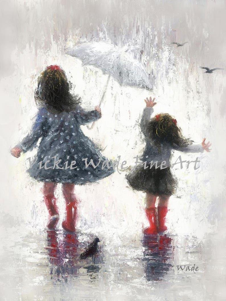 Sisters Art Print two girls two sisters rain sisters girls image 0