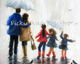 Three Sisters Art Print, rain family, three daughters, three girls, father mother three daughters wall art, Vickie Wade art
