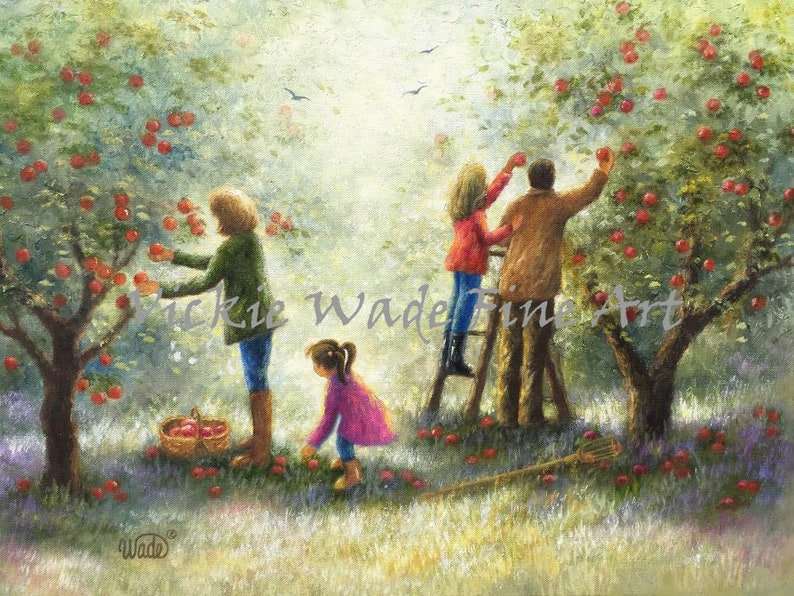 Family Picking Apples Art Print apple orchard pickers apple image 0