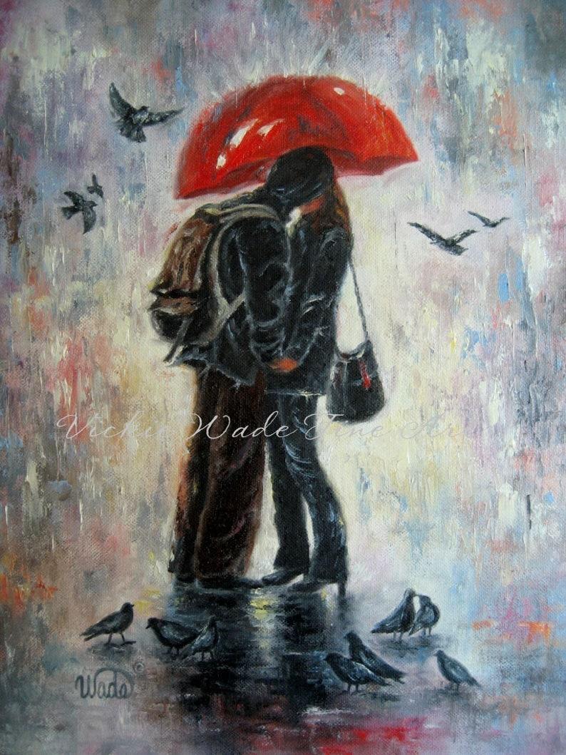 Lovers Kissing Art Print love in rain kissing in rain kiss image 0