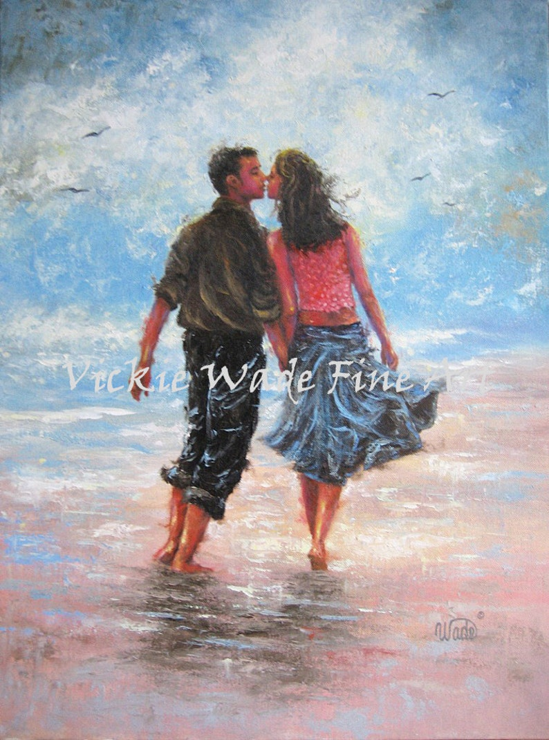 Beach Lovers Art Print couple kissing kiss love walking on image 0