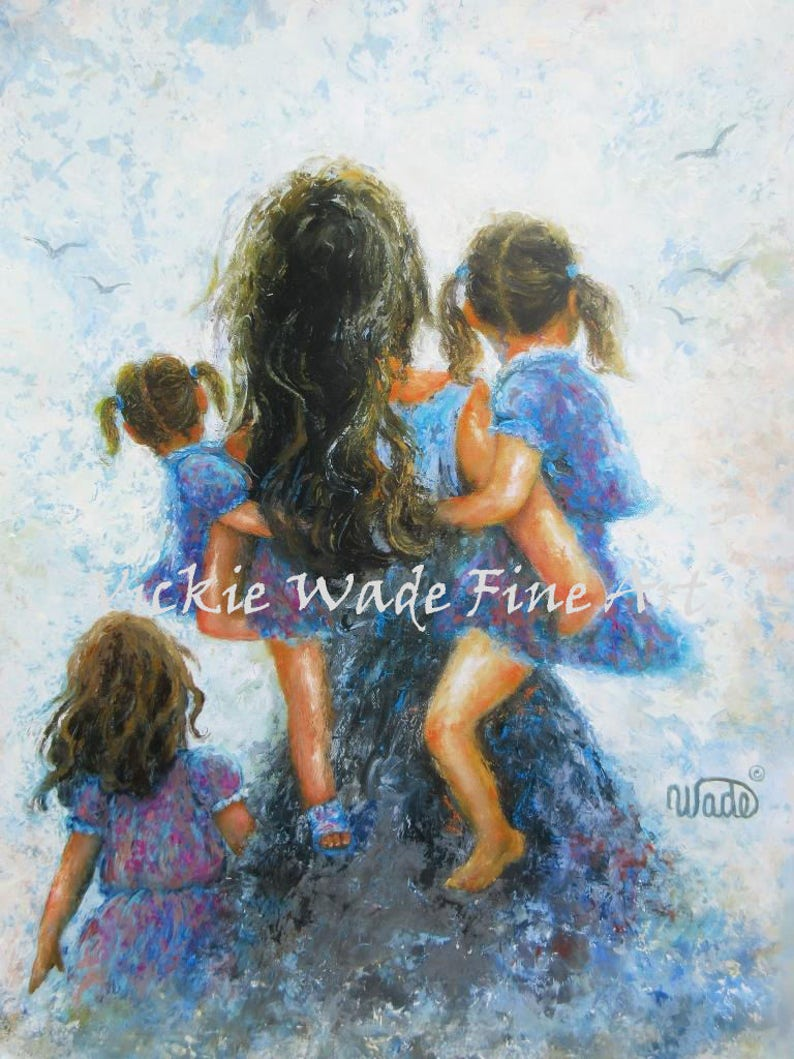 Mother Three Daughters Art Print mother paintings mom three image 0