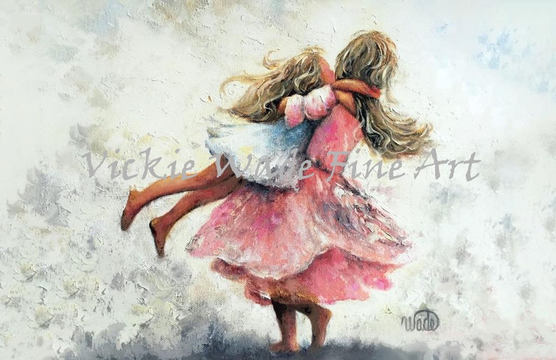 Two Sisters Twirling Art Print two blonde girls playing two image 0
