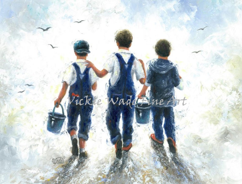 Three Boys Art Print three brothers fishing paintings going image 0