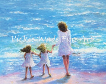 Mother and Twin Daughters Beach Art Print, mom, twin girls, twin sisters, blonde and brunette sisters, beach paintings,  Vickie Wade Art