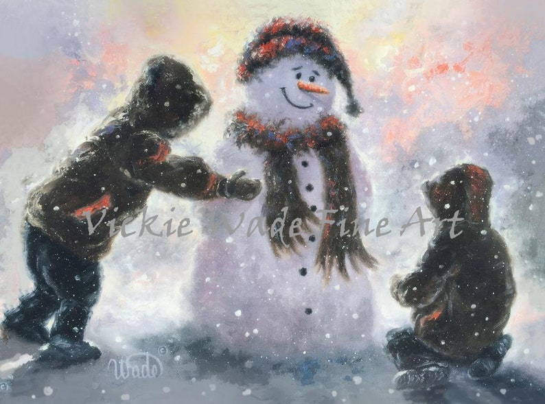 Snowman and Two Boys Art Print two brothers snowman paintings image 0