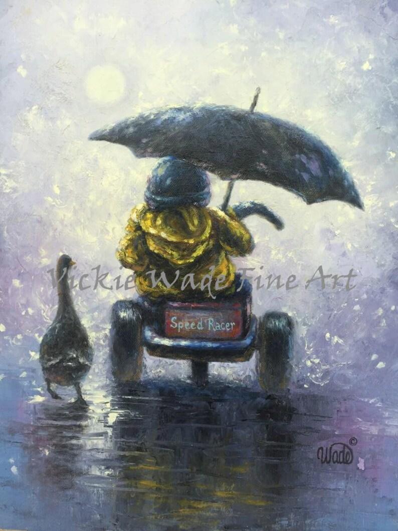 Little Boy in Rain ORIGINAL Painting kids wall art three image 0