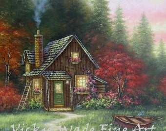 Forest Cabin Lake ORIGINAL Painting 15X30 country cabin, landscape, fall, autumn, woods, cabin painting, row boat wall art, Vickie Wade Art