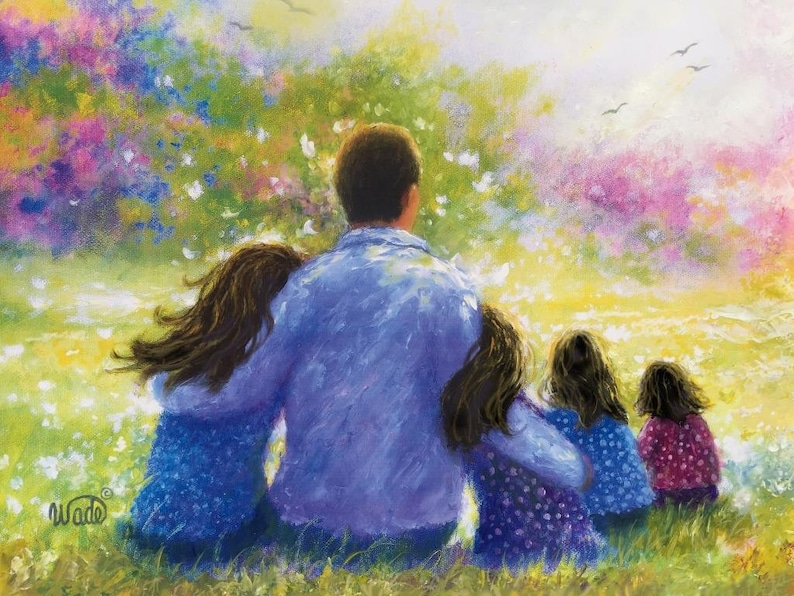 Father Four Daughters Art Print dad four daughters four image 0