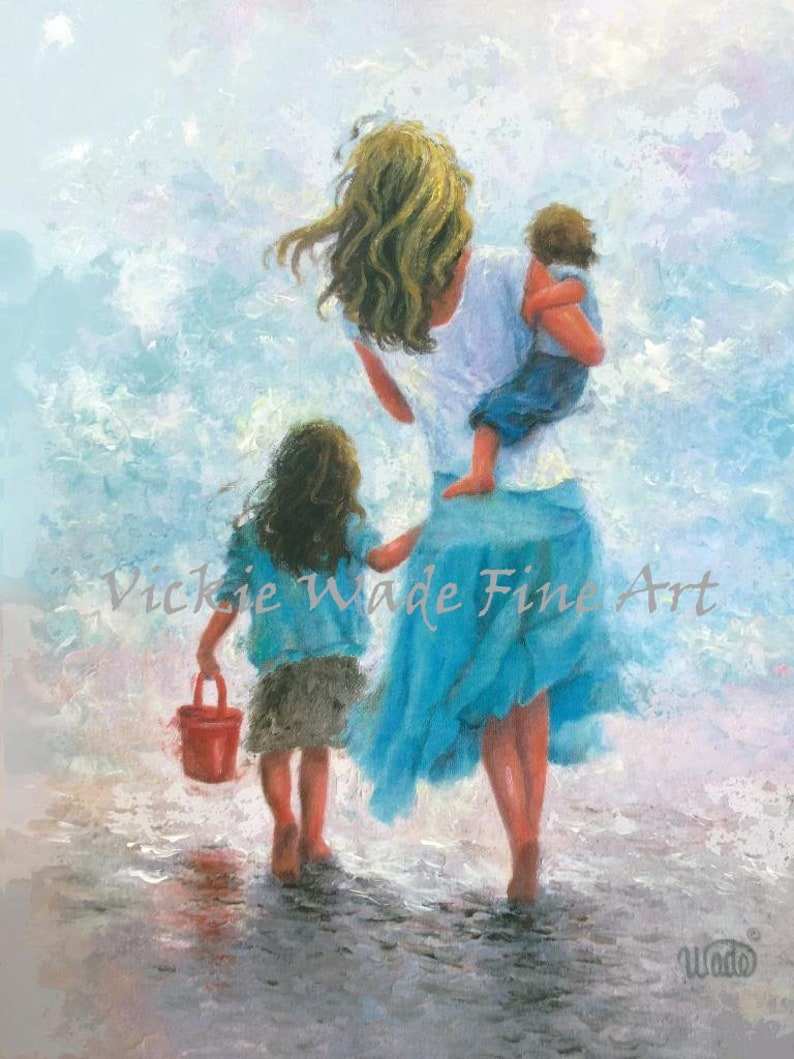 Mother Art Print beach mother wall art mother painting mom image 0