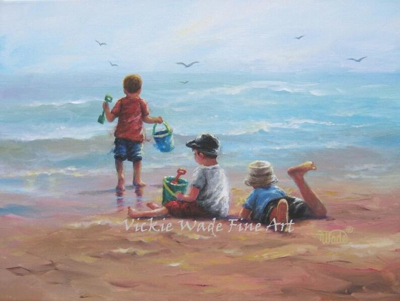 Three Beach Boys Art Print beach paintings boys beach image 0