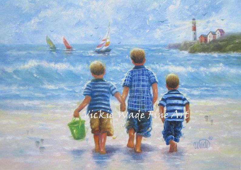 Three Beach Boys Art Print three brothers beach wall art image 0