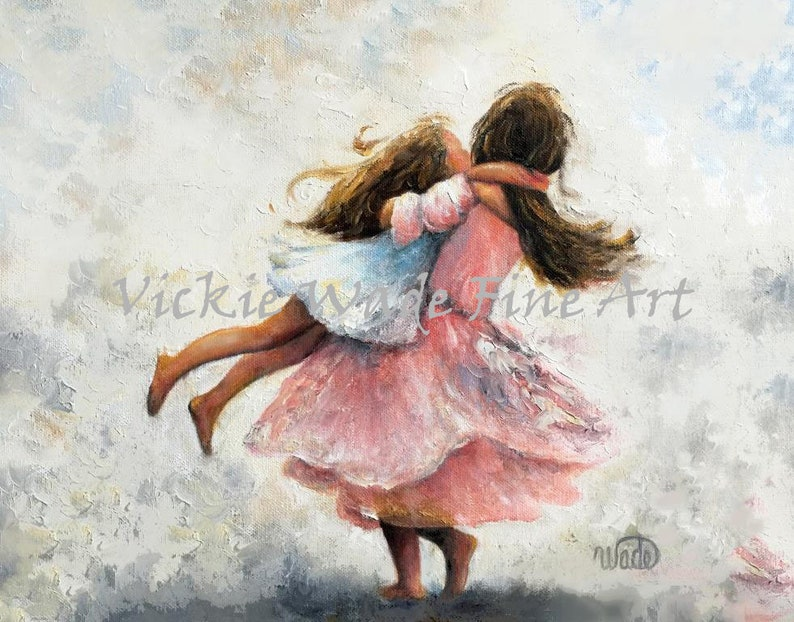 Two Sisters Twirling Art Print two girls playing two image 0