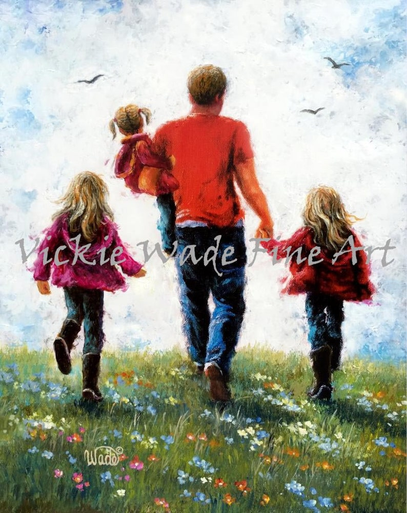 Father Three Daughters Art Print dad three daughters three image 0