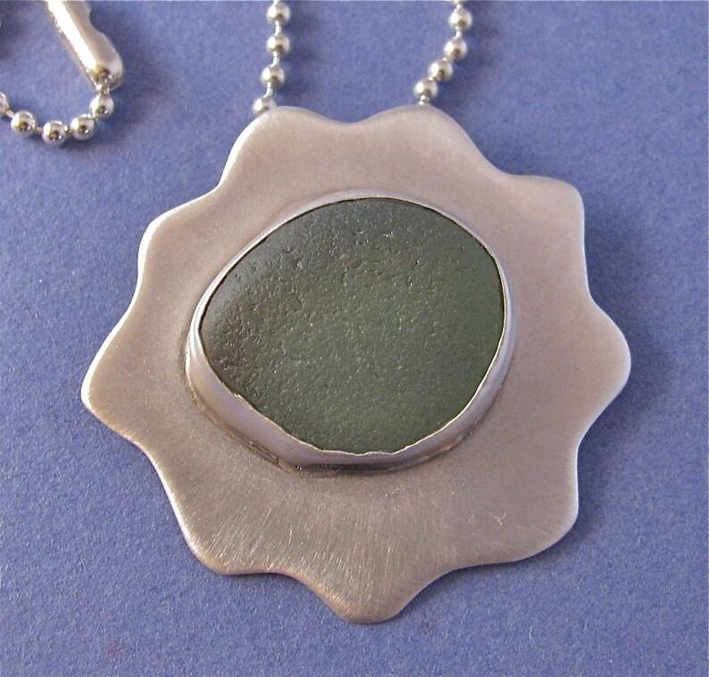 Green beach glass bezel set sterling silver pendant necklace