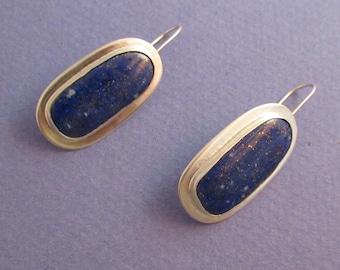 Bezel set lapis lazuli sterling silver drop earrings on wires
