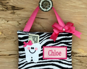 Personalized--TOOTH FAIRY PILLOW Zebra----Ships next day