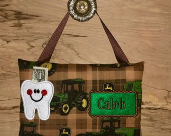 Tooth fairy pillow,Personalized tooth fairy pillow,John Deere tooth fairy pillow,Tooth fairy pillow,Boy tooth fairy pillow, SHIPS NEXT DAY
