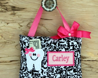 SHIPS NEXT DAY, Personalized tooth fairy pillow,Damask tooth fairy pillow,Tooth fairy pillow girl,Damask,Tooth fairy pillow,Girl birthday