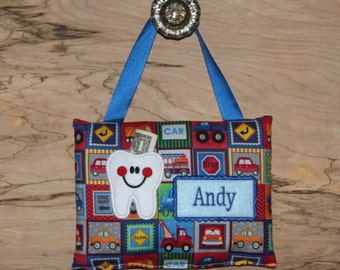 Personalized tooth fairy pillow,Cars and truck tooth fairy pillow,Tooth fairy pillow,Boy tooth fairy pillow, SHIPS NEXT DAY