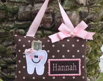 SHIPS NEXT DAY, Personalized tooth fairy pillow,Tooth fairy pillow,Pink dots on brown tooth fairy pillow,Girl tooth fairy pillow