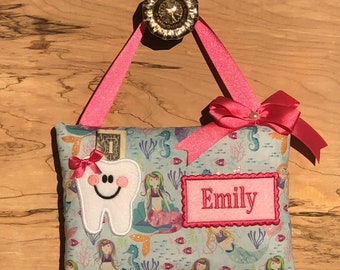 Personalized Mermaid tooth pillow,Girl tooth fairy pillow,Tooth fairy pillow girl, Mermaid tooth fairy pillow, SHIPS NEXT DAY