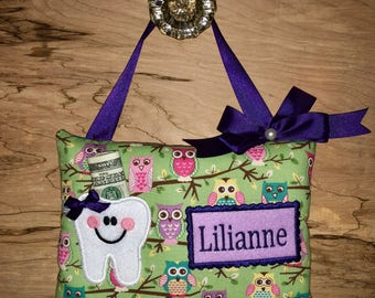 Personalized tooth pillow,Tooth fairy pillow,Girl tooth fairy pillow,Tooth fairy pillow girl,Owl tooth fairy pillow, SHIPS NEXT DAY