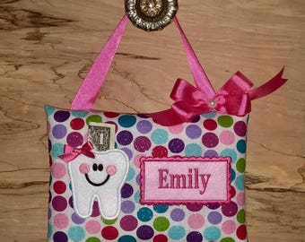 Personalized Tooth Pillow--GLITTER DOTS Tooth Fairy Pillow-----Ships next day