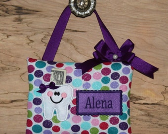 SHIPS NEXT DAY, Personalized tooth fairy pillow,Glitter dots,Girl tooth fairy pillow,Girl gift,Girl birthday,
