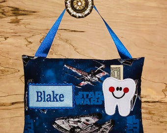 STAR WARS Star Wars tooth fairy pillow, Personalized tooth fairy pillow,Tooth fairy pillow, Boy tooth fairy pillow---Ships Next Day