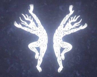 Dancing Forest Spirits Bandana In Silver On Indigo