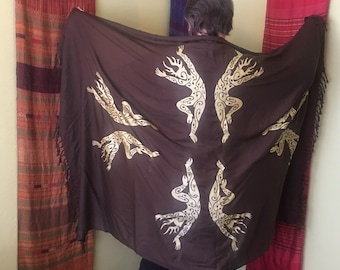 Dancing Forest Spirit Sarong Screenprinted Gold on Brown cernunnos pan horned one