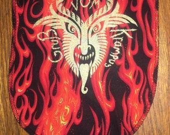 Gruß vom Krampus Mini Banner in Gold on Flamboyant Background Print