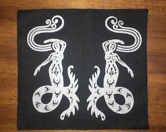 Mermaid Undine Water Elemental Dancer Patch Silver On Black