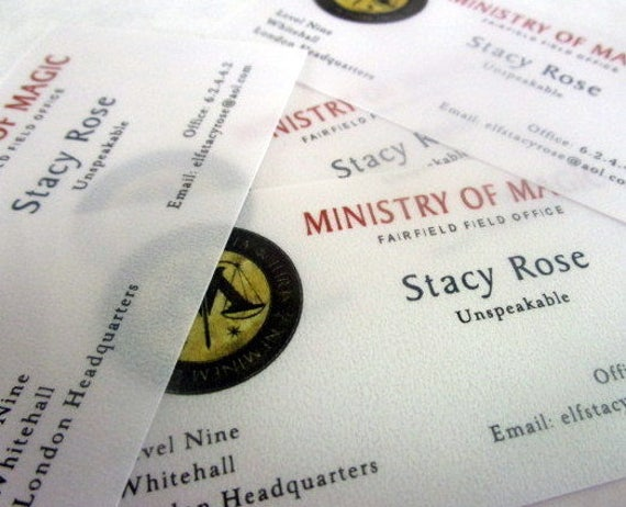 Wizarding Magic Government Business Cards Set Of 10 Etsy