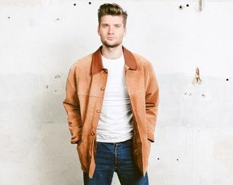 30ba14e91348 Vintage Herren Wildleder-Jacke. Leder Blazer der 90er Jahre Indiana Jones Jacke  braun Oberbekleidung Vintage westlichen Mantel. Größe  große L