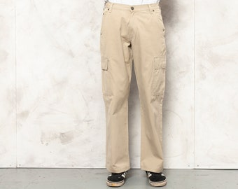 The Chic in Chinos Vintage 90s Khaki Trousers Bottoms Cropped Chinos Cotton Stretch Hip Huggers Slim Fit