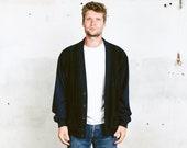 Suede Cardigan Jacket . Men 39 s Vintage 80s Jacket Rockabilly Cardigan Navy Blue Hipster Sweater Bomber Jacket . size Extra Large XL