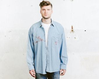 jahrgang gewehr jeanshemd bergro e blaues hemd herren 90er etsy. Black Bedroom Furniture Sets. Home Design Ideas