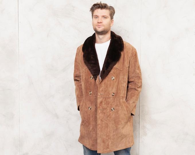 Vintage 80/'s Suede Duffel Coat Men Hooded Sherpa Coat Men/'s 1980s Winter Coat Outerwear Suede Leather Coat  size Large