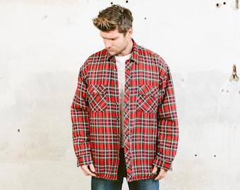 Vintage 90s Insulated Jacket Lumberjack Jacket Check Print Outerwear Shirt 1990s Grunge Overshirt Tartan Plaid Padded Jacket size XXL